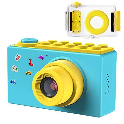 Samoleus macchina fotografica per bambini, fotocamera digitale subacquea impermeabile, digital camera kids videocamera hd 1080p / 8mp / zoom digitale 4x / lcd da 2 pollici (blu)