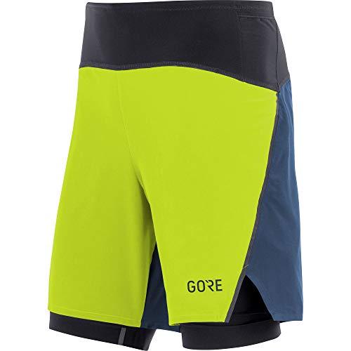 Gore Running Shorts (Gore Wear Herren GORE R7 2in1 Shorts Citrus Green/Deep Water Blue, L)