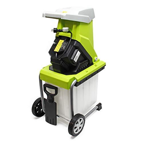 WilTec Broyeur végétaux électrique 2500W Déchiqueteur Jardin Branche Coupe 40mm Bac ramassage Mobile