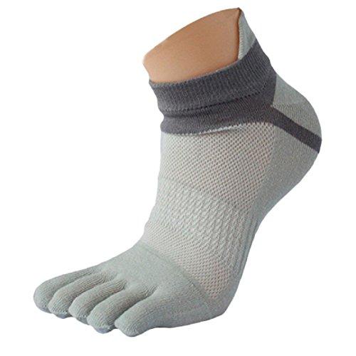 Socken Farbe High Knee (Socken herren Kolylong Männer Sport laufende Zehe Socken Toe Socks (Grau))