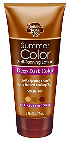 Banana Boat Summer Color Self-Tanning Lotion, Deep Dark Color, For All Skin Tones, 6-Ounce Tubes (Pack of