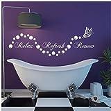 Lovemq Badezimmer Blasen Schmetterling Aufkleber Badezimmer Entspannen Erneuern Erneuern En Suite Wandkunst Aufkleber Mode Frische Wandmalereien Diy 57X19 Cm