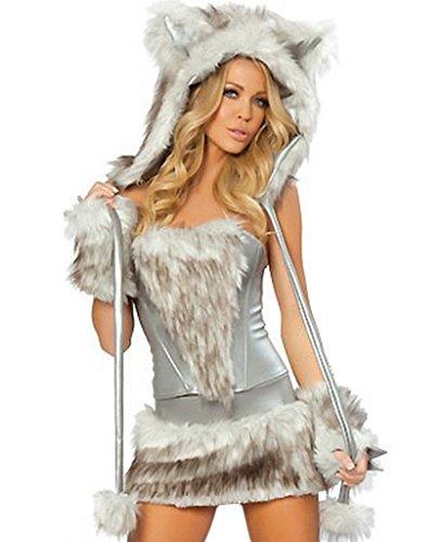 COMVIP Donna Animal Costume sexy di Halloween del lupo peloso Gatto Cosplay Free Dimensioni: Busto 90cm Vita 72-74cm Grigio