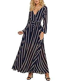 Sylar Vestidos Invierno Mujer Moda V-Cuello Sexy Raya Manga Larga Color coincidente Vestido Mujer para Noche y…