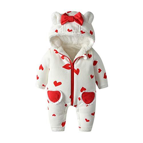 Livoral Baby Winter Jacke Neugeborenes Baby Mädchen Jungen Floral gekräuselten einteiligen Overall Overall Jumpsuit Set(A-Weiß,6-12 Monate)