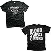 Gas Monkey Garage Blood Sweat and Beers Reverse Official Black Mens T-Shirt