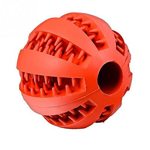 IBuyi Haustier Spielzeug Ball für Hunde & Katzen Bite Resistant Soft Gummi Silikon Zahn Reinigung Kauen Spielzeug Ball, Interaktive IQ Hund Ball Bouncy & Behandlungsball (5 CM, Rot)
