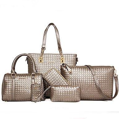 La donna pu canna borsa a tracolla / Tote / Cartella / Frizione - Viola / oro / argento / grigio / nero,Gold Silver