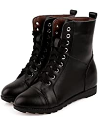 &ZHOU Botas otoño y del invierno botas cortas mujeres adultas 'Martin botas botas Knight A6-7 , black cotton , 38