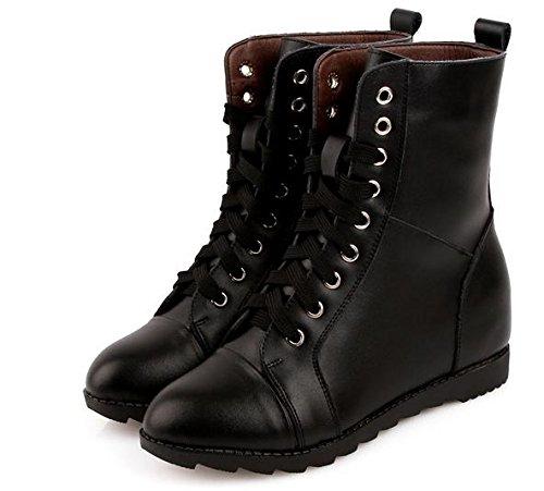 &ZHOU Bottes d'automne et d'hiver Bottes courtes pour femmes adultes Martin bottes bottes Chevalier A6-7 black cotton