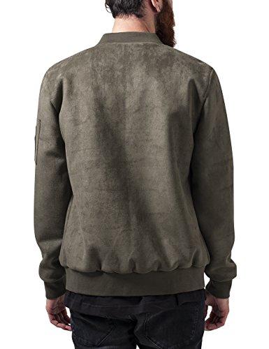 Urban Classics Imitation Suede Bomber Jacket, Giacca Uomo Grün (Olive 176)