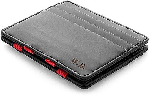 Jaimie jacobs ® portafoglio magico con incisione, magic wallet flap boy slim - l'originale - protezione rfid, portafoglio uomo piccolo, porta carte di credito slim (nero e rosso)