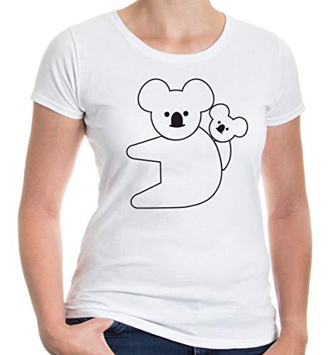 Girlie T-Shirt Koalabär-Tier-Silhouette-XS-White-Black