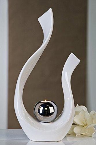 Casablanca - Teelichtleuchter Sculpture aus Keramik - weiß/silberfarben glasiert -