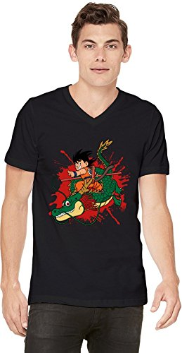 Kid Goku and Dragon T-shirt col V pour hommes Small