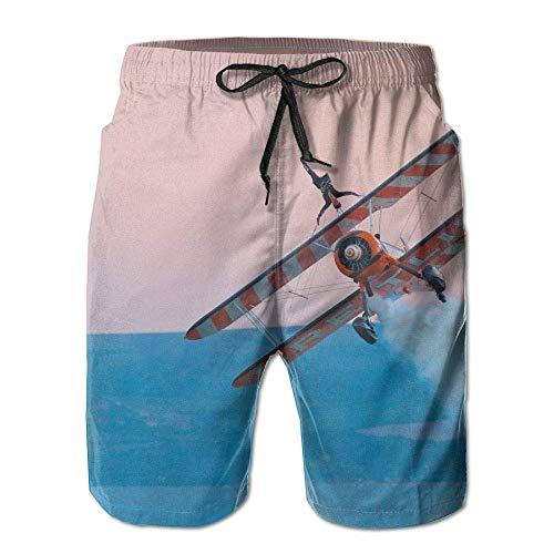 Funny cat Herren Sommer Surf Badehose Strand Shorts Hose Quick Dry mit Taschen, XL -