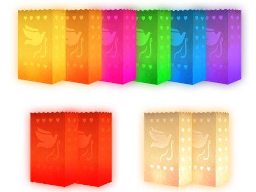 Lot de 10 sac à bougie multicolor coloré motif pigeon fête effet luminaire décoration soirée en plein air mariage romantique photophore en papier non inflammable farilitos lanterne:Pigeon grand