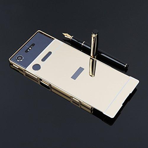 Spiegel Hülle Mirror Case TPU Schutzhülle Silikon Handyhülle Tasche Case Cover für Sony XZ 1, Rose Rose