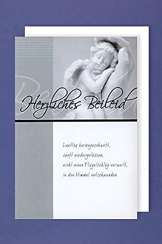 Trauerkarte mit Umschlag Engel in der Hand Trauer um ein Kind 11x17cm