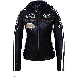 Urban Leather UR de 152Mujer Moto Chaqueta con protecciones, Negro, grandes: S
