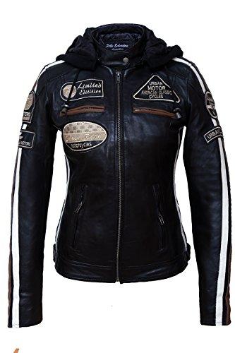*Urban Leather Damen Motorradjacke mit Protektoren, Schwarz, M*