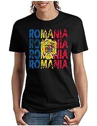 OM3 - ROMANIA - Damen T-Shirt tailliert - RUMÄNIEN EM 2016 FRANKREICH FRANCE FUSSBALL FANSHIRT SOCCER SPORT TRIKOT EUROPAMEISTER, S - XXL