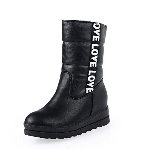 AllhqFashion Damen Mitte-Spitze Ziehen Auf Blend-Materialien Mittler Absatz Stiefel Schwarz