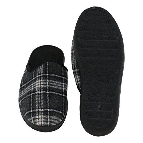 Ciabatte Da Uomo In Pantofole A Pantofola - Ottimo Comfort E Flessibilità - Colori: Grigio / Marrone E Grigio / Nero - Taglie: 41-46 - Dal Piatto Di Marca Grigio / Nero