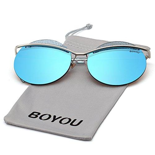 BOYOU Katzenauge Metallrahmen Frauen Sonnenbrille mit verspiegelten Objektiven und UV400 Schutz