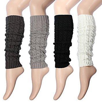 Jambières d'hiver chaudes en tricot pour femme et fille style rustique, Gris cla