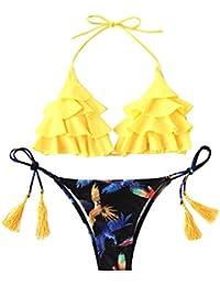 SOLYHUX Mujer Conjunto De Bikini Con Estampado De Pájaro De Volante Con Cordones Con Borla,