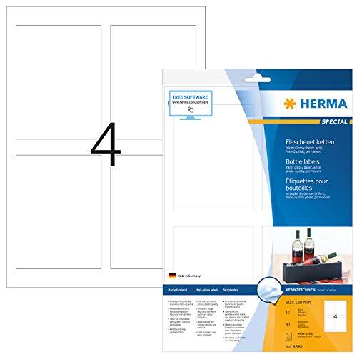 HERMA 8882 Flaschen-Etiketten für Tintenstrahldrucker DIN A4 (90 x 120 mm, 10 Blatt, Papier, glänzend) selbstklebend, bedruckbar, permanent haftende Inkjet Aufkleber, 40 Klebeetiketten, weiß