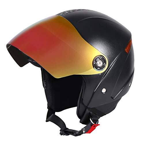 JMD HELMETS Open Face Helmet with Mirror Visor (Black, Large)