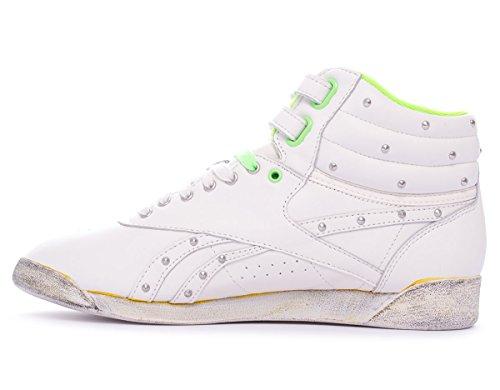Reebok FS HI Freestyle Hi Top Scarpe di cuoio donne classiche nero Chalk/Neon Green/Black