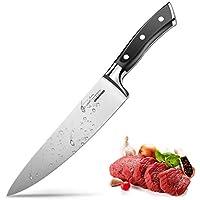 Couteau de Chef Professionnel Couteau de Cuisine 20cm Lame en Acier Inoxydable avec Poignée Ergonomique Anti Dérapante