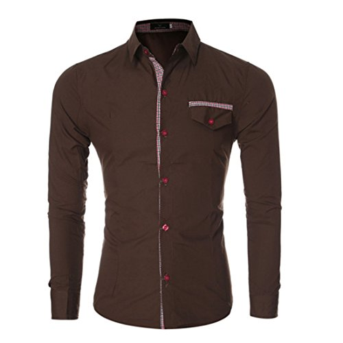 Men's Classic Plaid Turndown Collar Long Sleeve Slim Fit Shirts Café