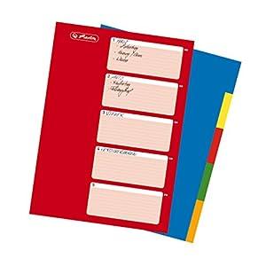 Herlitz Ringbuchregister A4, 5-teilig mit Indexblatt PP-Folie, Eurolochung