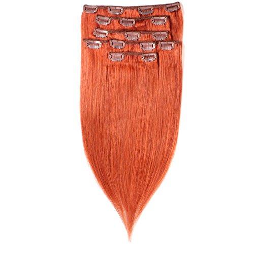 hair2heart Clip in Echthaar Extensions, 7 tlg. 100g Set, 60cm - glatt - #130 kupferrot