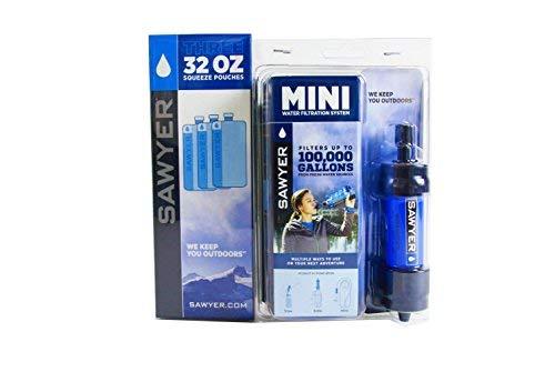 Sawyer Mini - Filtre d'eau pour randonnée, accessoire camping, trekking, MINI set de 1 Bleu, purificateur d'eau de robinet + Sachet 3 x 1Litre SP113