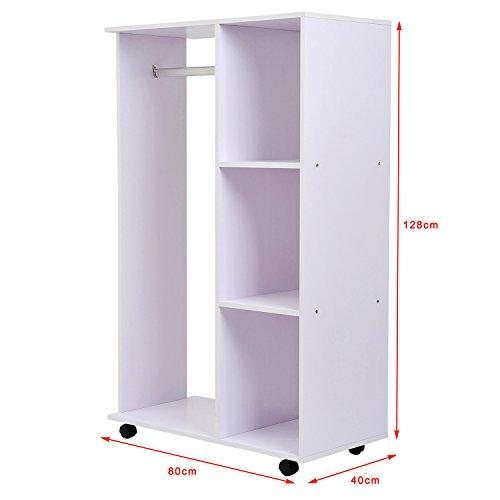 Homcom armoire de rangement penderie dressing avec roulettes 3 niveaux design moderne 80 x 40 x - Meubles penderie rangement ...