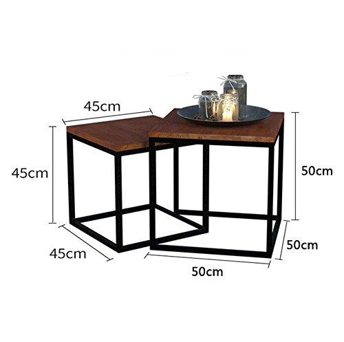 Scaffale- comodino quadrato, tavolino tavolo da dessert camera da letto scrivania multifunzionale tavolo da salotto divano trasformabile laterale tavolino da caffè in ferro battuto in movimento mobili