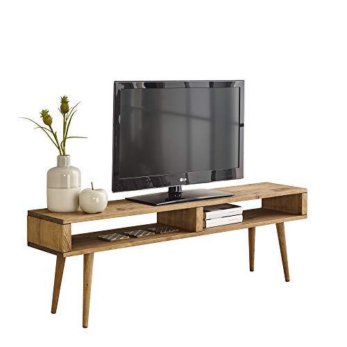 Mesa televisión, Mueble TV salón diseño Vintage 2 Huecos, Madera Maciza Natural,...