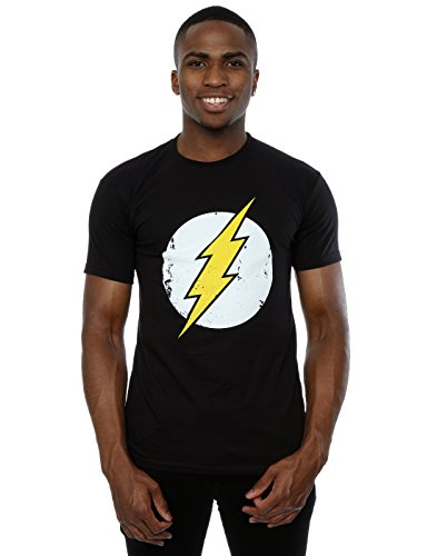 Flash-mens Tee (DC Comics Herren Flash Distressed Logo T-Shirt Large Schwarz)