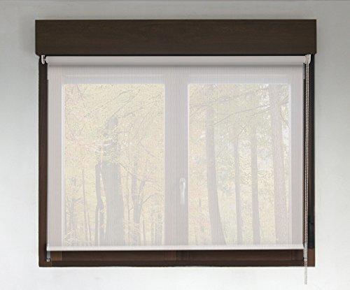 Estor enrollable SCREEN PREMIUM (desde 40 hasta 300cm de ancho - permite paso de luz y ver el exterior sin que lo vean). Color blanco. Medida 172cm x 140cm para ventanas y puertas