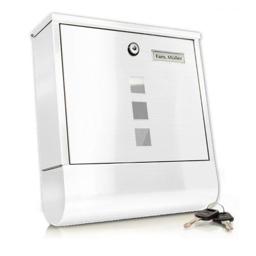 TÄGA 2212 Design Briefkasten aus Metall/Edelstahl + mit Zeitungsfach + extra Rostschutzlackierung + abschließbar + inkl. Befestigungsmaterial (Schrauben & Dübel) und 2 Schlüsseln Farbe: weiß