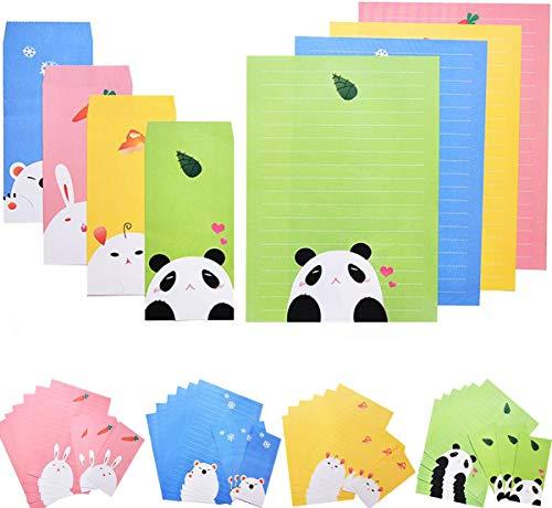 48PCS Briefpapier mit 24PCS Umschläge Set Liuer Nette Süße Schreibpapier Motivpapier mit Umschlag ohne Fenster für Mädchen Kinder Jungen Geschenkkarte Hochzeit Geburtstag Party Supplies