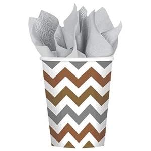 Vasos de papel de la marca Amscan International, referencia: 580029, capacidad: 266ml, diseño: galón en forma de V con aspecto de metal mezclado