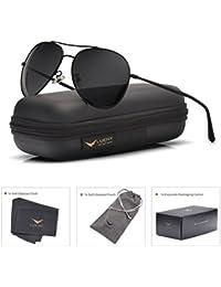 f3caeb4f2b LUENX Aviator Sunglasses Polarized Black For Men Women With Case - UV 400  Protection - All