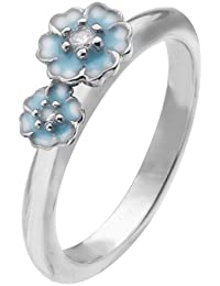 Virtue Silver Stackable VRS5008 with Two Blue Enamel Flowers with Cubic Zirconia Centre