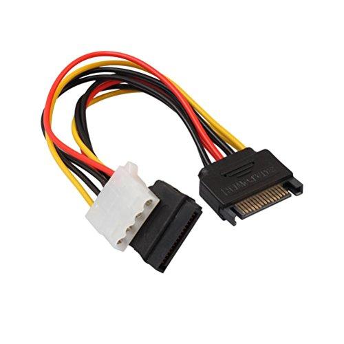 Wokee SATA Strom Kabel SATA 2PC 15Pin Male Seriell zu 15Pin IDE Molex Female + 4Pin SATA Buchse Kabel Power Kabel